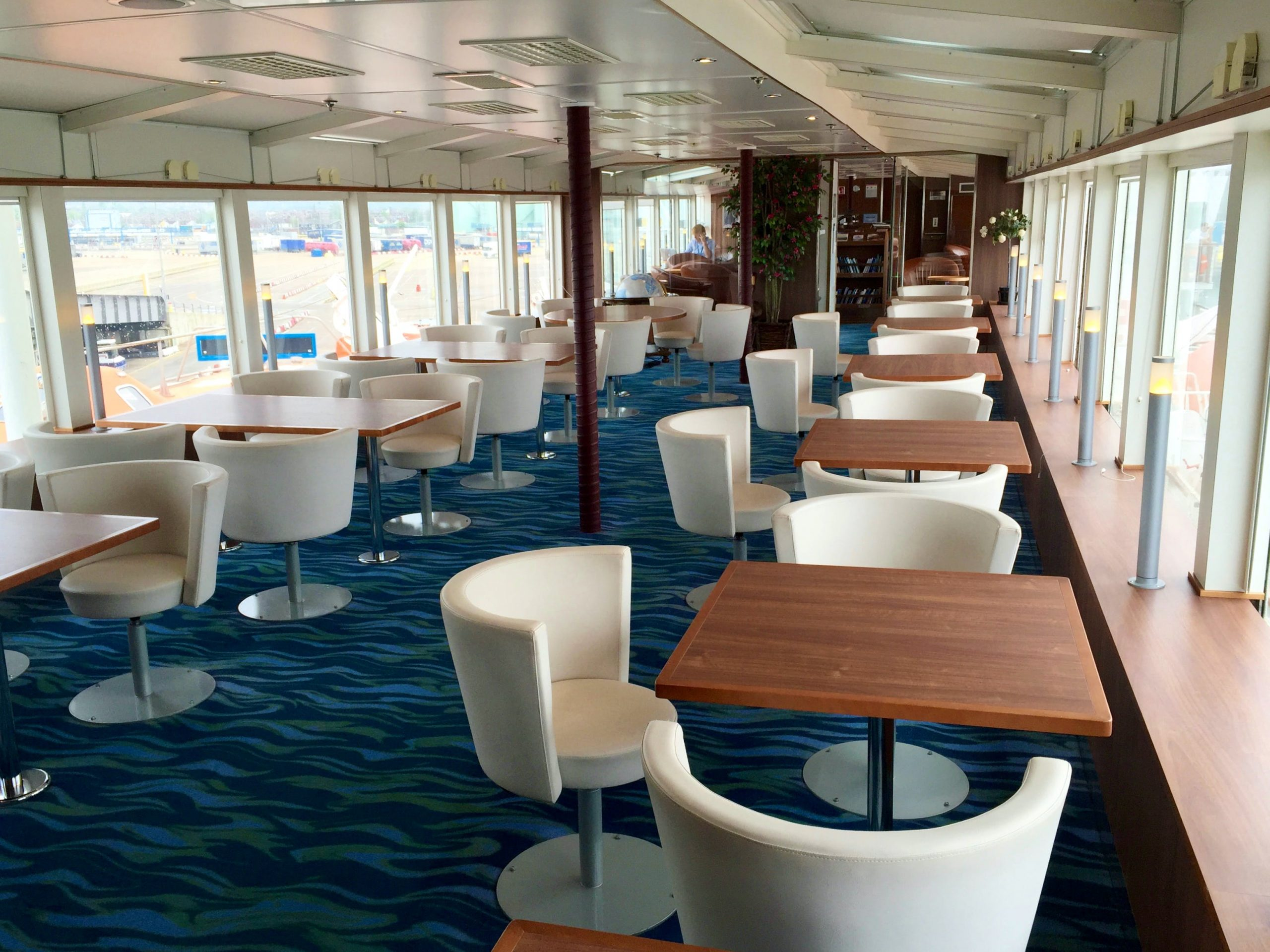 An observation lounge onboard the National Geographic Explorer ship