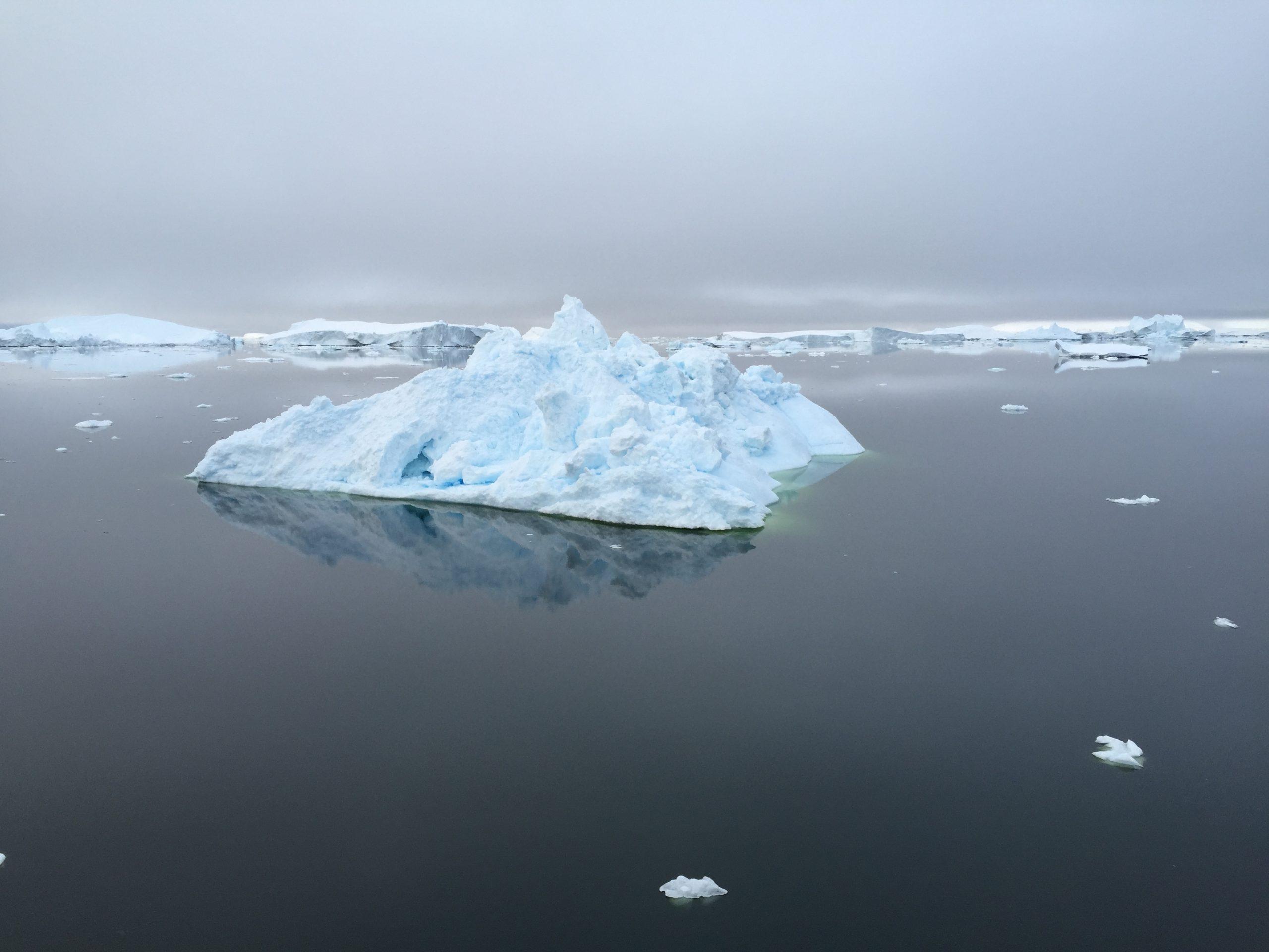 Views over iceberg filled waters in Antarctica under grey skies