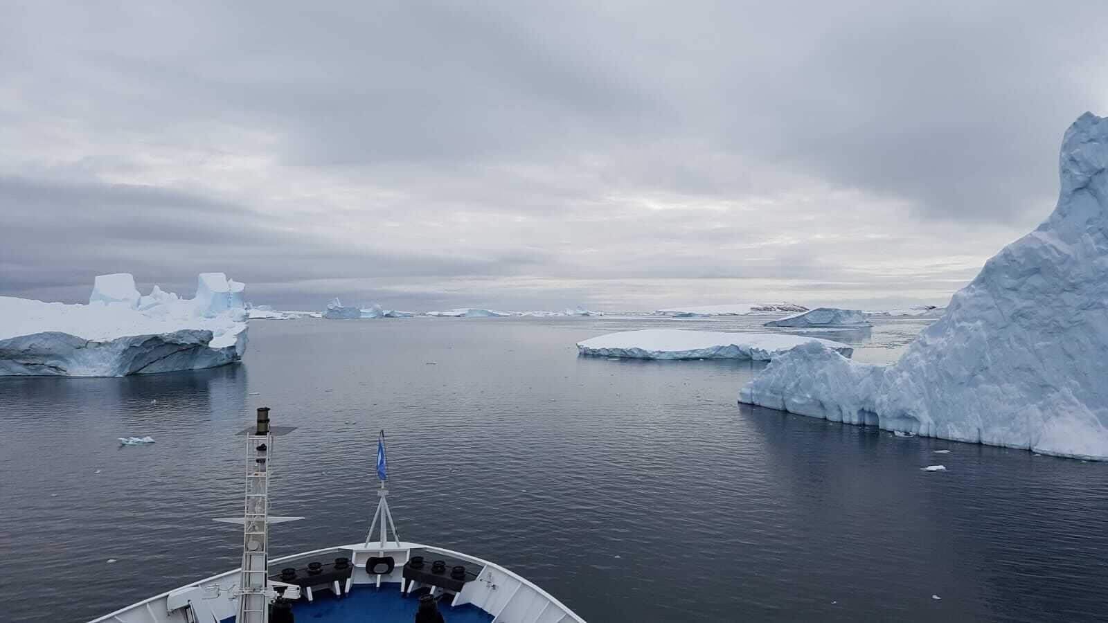 A ship navigates through icebergs in Antarctica