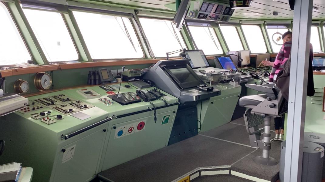 Visiting the bridge of an Antarctic cruise ship