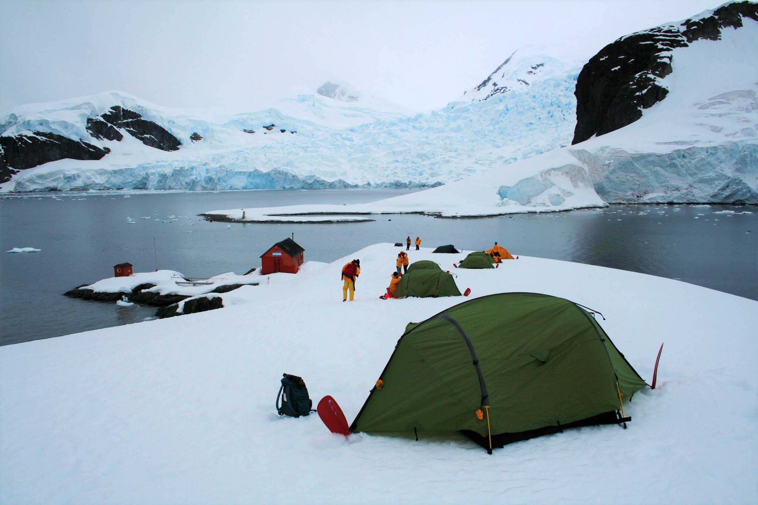 Green tents pitched in the snow on the Antarctic Peninsula