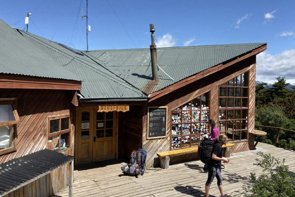 A rustic wooden hiking hostel in Patagonia