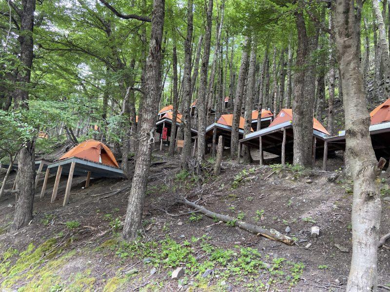 Orange tents pitched on wooden decks on stilts down a steep woodland hillside
