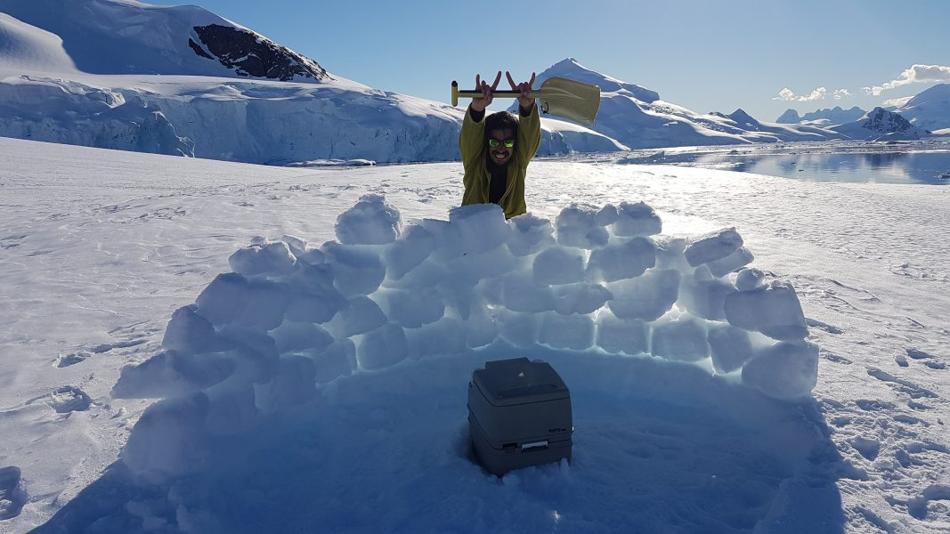 A 'loo with a view' in Antarctica, a small portable toilet unit and a half igloo for privacy