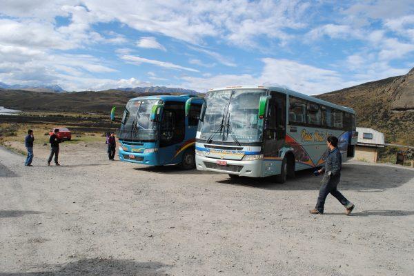 A basic bus stop in rural Patagonia